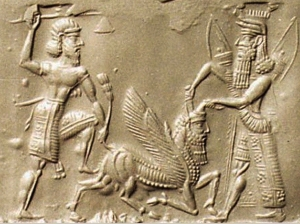 Babylonian_Cylinder_Seal_Gilgamesh_Bull_of_Heaven