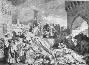 L0004057 The plague of Florence in 1348, as described in Boccaccio's Credit: Wellcome Library, London. Wellcome Images images@wellcome.ac.uk http://images.wellcome.ac.uk The plague of Florence in 1348, as described in Boccaccio's Decameron. Etching by L. Sabatelli after himself. Engraving By: Giovanni Boccaccioafter: Luigi Sabatelli and Pier Roberto CapponiPublished:  -  Copyrighted work available under Creative Commons by-nc 2.0 UK, see http://images.wellcome.ac.uk/indexplus/page/Prices.html